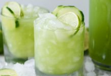 vodka, soda y jugo de pepino